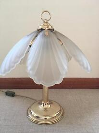 Gold brass and glass Tiffany style lamp