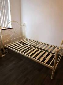 Ivory metal 4ft small double bed frame