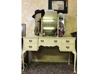 Shabby chic dressing table Queen Anne Style with large mirrors