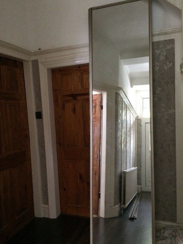 3x Tall 8ft Mirrored Sliding Wardrobe Doors With Tracks Ideal For A Diy Ed Project