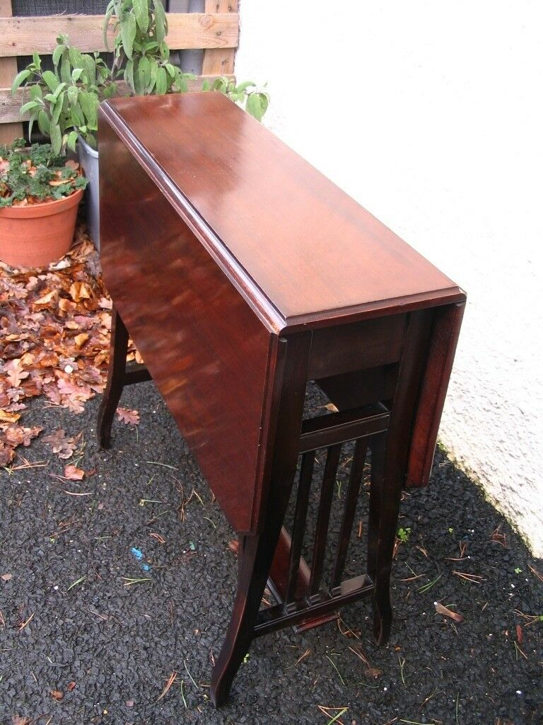 Edwardian Mahogany Sutherland Table Small Side Occasional Antique Drop Leaf