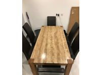 JOHN LEWIS MARBLE & OAK DINING TABLE & 6 FAUX LEATHER DINING TABLE CHAIRS.