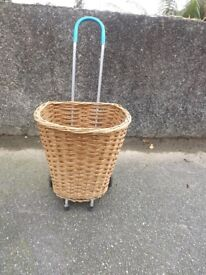 Vintage Wicker Shopping Trolley