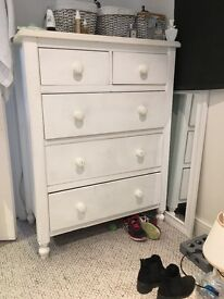 Solid pine white tall boy painted white