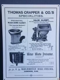 Vintage retro quirky metal bathroom / pub sign by 'Crapper & Co' / art