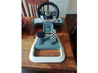 Used xbox 360 steering wheel and pedels