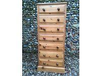 Tall, slim solid pine drawers