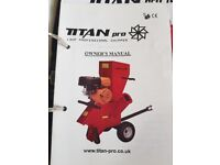 Titan Pro ,13hp professional chipper, lightly used,