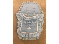 Baby blue lace and ribbon large pram and cosy toes