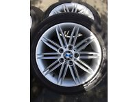BMW M sport 17 inch alloy wheels with winter tyres to rear