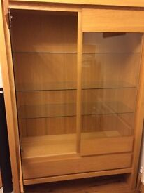 Oak and glass display cabinet/Bookcase