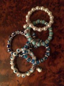 Turkish Blue Eye Bracelets Elastic Pearl Handmade