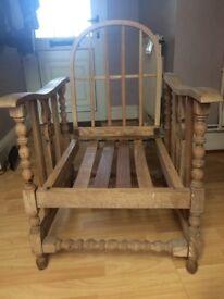 Lovely oak chair with folding back