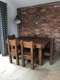 Butchers block dining room table & 6 chairs