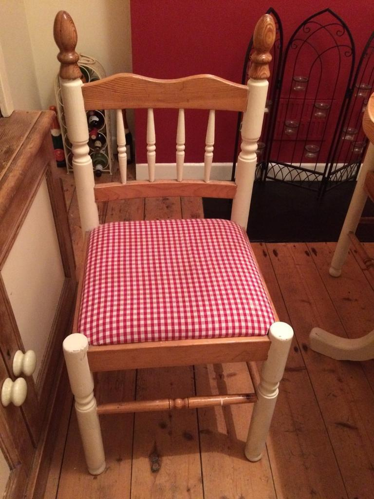 Upcycled cream pine dining room table and four chairs in