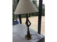 Bronze table lamp with cream shade