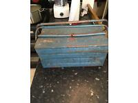 Metal tool box with spanners
