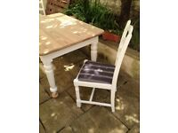 shabby chic dining table and 2 chairs restored to wood