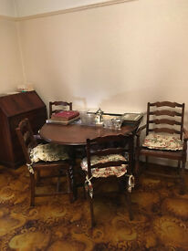 Very Old Drop Leaf Dining Table with ladder rack chairs in Dark Oak (I Think)