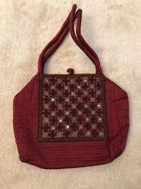 NEW Indian hand embroidered handbag- Maroon