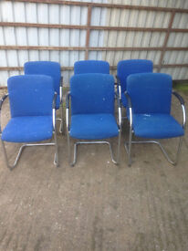 Blue Fabric Cantilever Chairs in Poor Condition (6 Available)