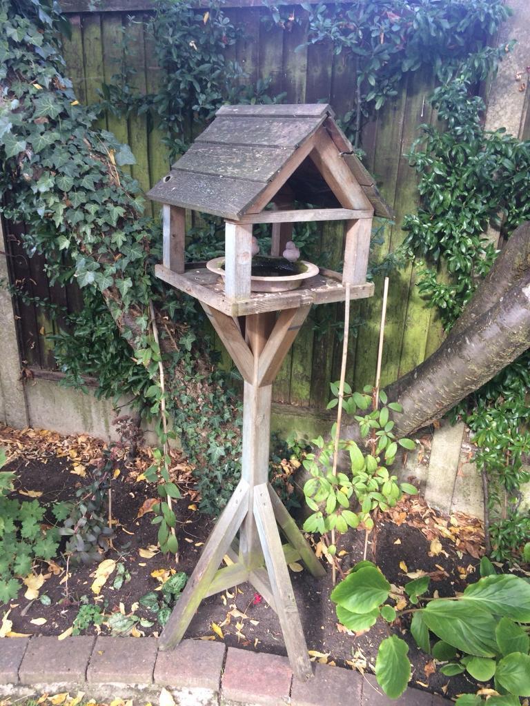 Wooden Bird table plus bird bath