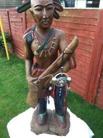 Wood carved indian