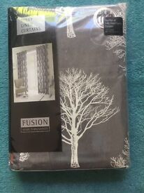Pair of grey fully lined eyelit curtains 168 x 137cm ,BRAND NEW