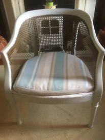 wooden and rattan cream vintage chair ideal for bedroom/living room etc