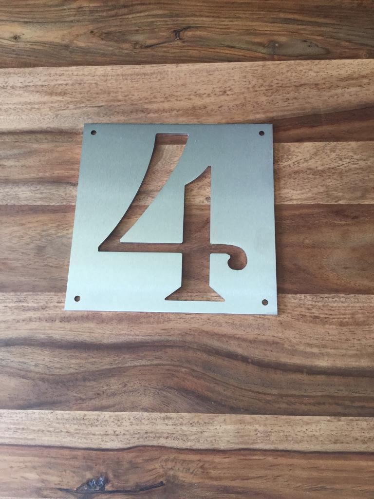 "Door Numberin Leith, EdinburghGumtree - Stainless no 4 measures 7"" x 7"" ( 177mm x 177mm) One off, beautiful piece"