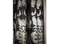 "Black and silver fully lined curtains. 90"" drop"