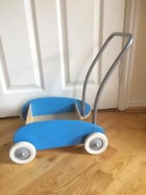 Toddler's wooden push-along trolley
