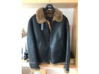 Leather Bomber Jacket XL - New