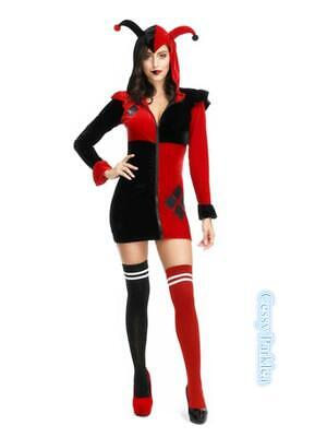 F2 Harley Quinn Gotham Jokers Girls Villain Arkham City Batman Dress Costume