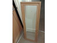 Full length wooden edged mirror