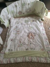 Baby bedding, cot mobile, changing mat, high chair
