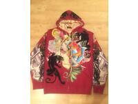 2 brand new Christian Audigier rhinestone decorated men's authentic large luxury designer hoodies