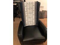 Lazy Boy Black Leather swivel reclining Armchair