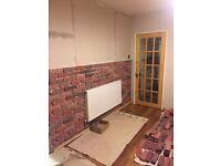 Reclaimed effect brick slip tiles