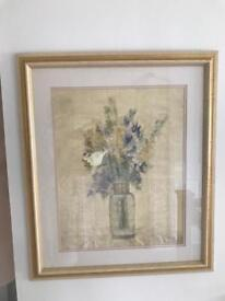 Framed picture abstract floral bouquet