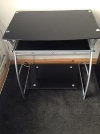 Black glass computer table and chair for quick sale