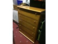 Wood chest with 5 drawers, good condition, £40