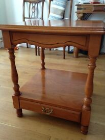 Square coffee / lamp / occasional table - solid wood - with drawer