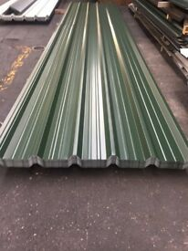 Box profile roofing sheets, juniper green polyestyer
