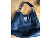 Genuine Michael Kors large black leather shoulder bag