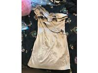 River island size 14 cream one shoulder dress