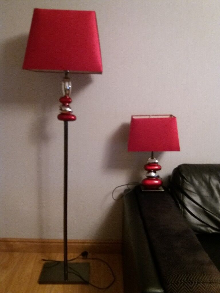 Red pebble floor lamp and matching table lamp