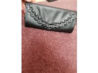 Black leather clutch hanbag BNWT