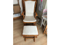 Wooden Rocking -Reclining glider-Nursery chair with cushions and stool.Excellent Condition.