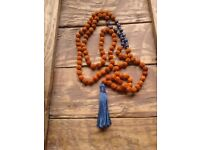 Rudraksha and Sodalite Mala / Blue Meditation Mala / 108 Beads / Hand Knotted / Gemstone Necklace